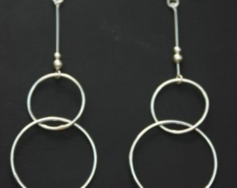 Sterling Silver Hoop Earrings Double Circles