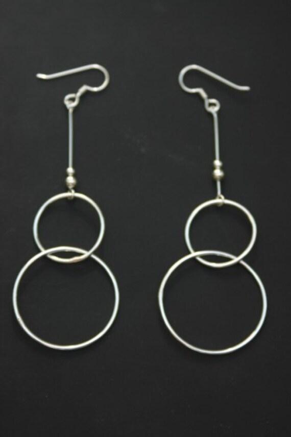 Sterling Silver Hoop Earrings Double Circles