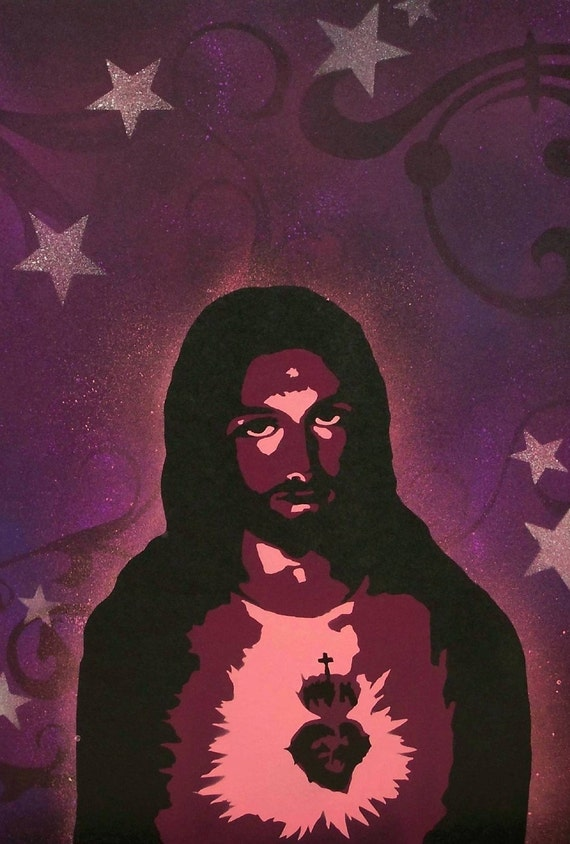 13 x 19 Print From My Original Custom Pop Art Spray Painting Jesus Christ Stars Heaven