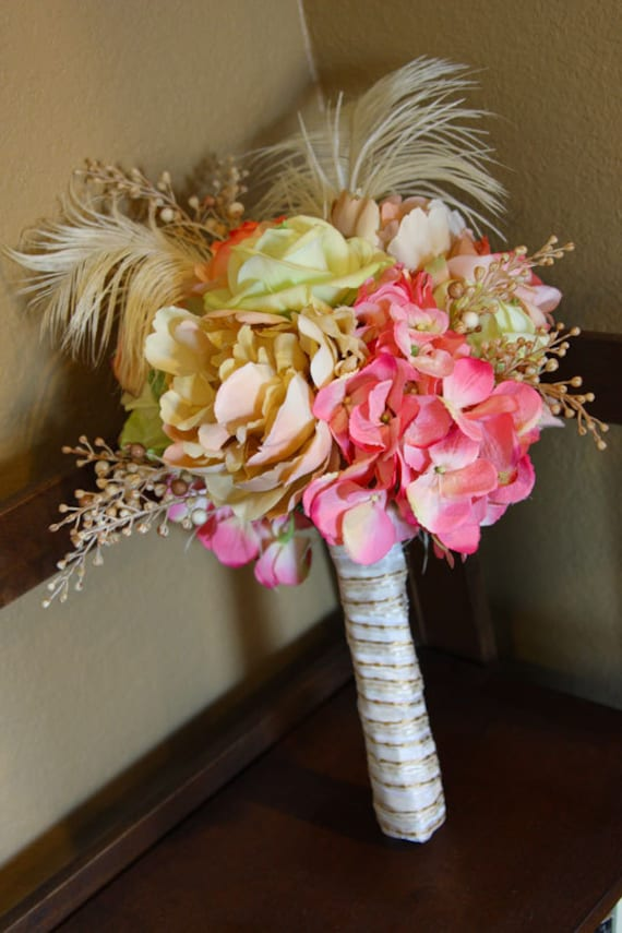 Ostrich Feather Wedding Bouquet - Pink, Peach and Green