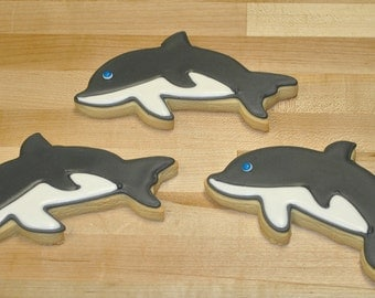 Dolphin Hand Decorated Sugar Cookies