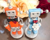 Robot Wedding Cake Topper | Orange and Blue | Made to Order and Customizable | Clay, Wire
