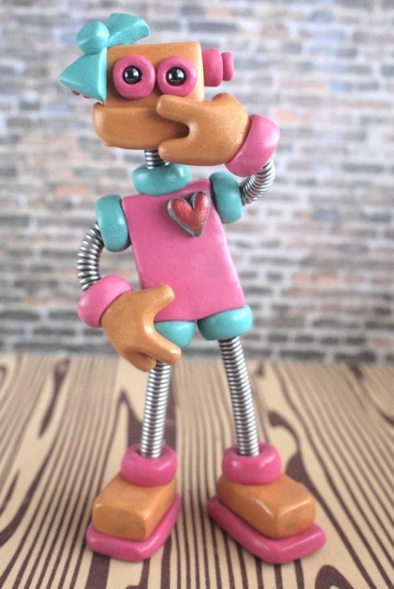 Robot Birthday Cake Topper - Pink Pat - Girlie Shy Bot