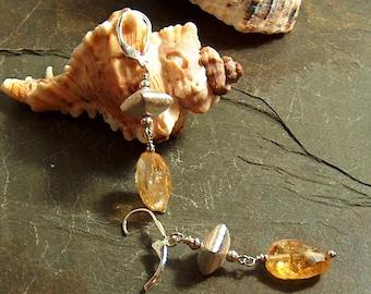 Citrine Chunks & Brushed Sterling Silver Bead Earrings - 551ED