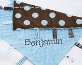 Tag Blanket Personalized Ribbon Lovey - Blue and Brown Dot Satin and Blue Minky Dot