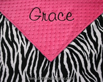 Baby Blanket Personalized - Hot Pink Minky with Zebra Minky - Girl Baby Blanket