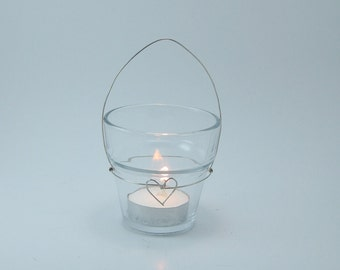"""Wire candle holders for hanging standard 2"""" glass votives, wire heart design (Set of 40), WIRE HOLDERS ONLY"""