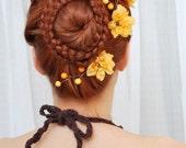 Flower hair clips, burnt orange hair clip, harvest wedding accessories - Persimmon