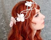 Pink hydrangea bridal headpiece, flapper crown, star crown, boho wedding hair accessory  - Bright star