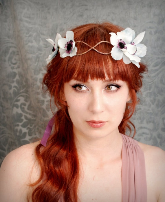 Woodland hair wreath, blue flower crown, floral circlet, hair accessory - Echos in the mist - Last one available