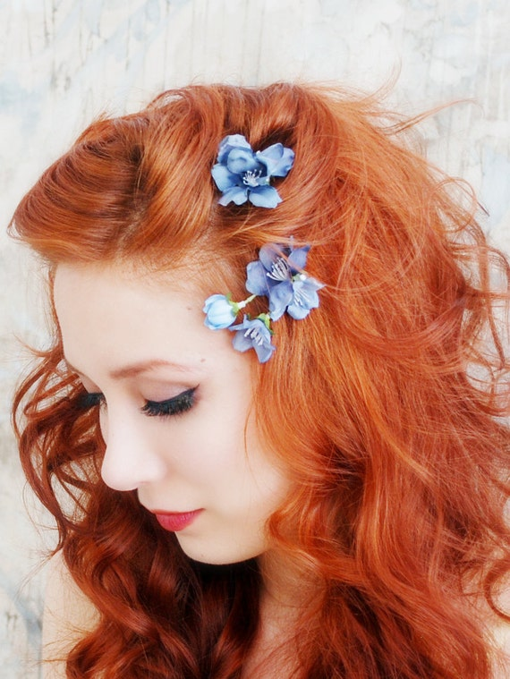Blue flower hair clips, woodland bobby pin set, wedding flower pins, hair accessories - First blooms of spring