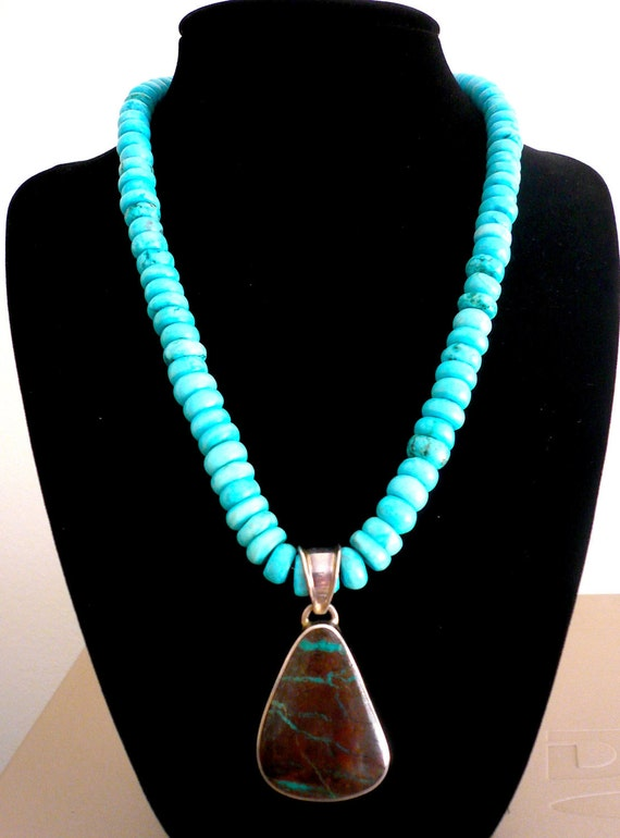 SALE...STRIKING Sterling Silver .925 Matrix Turquoise LUCKY Native American