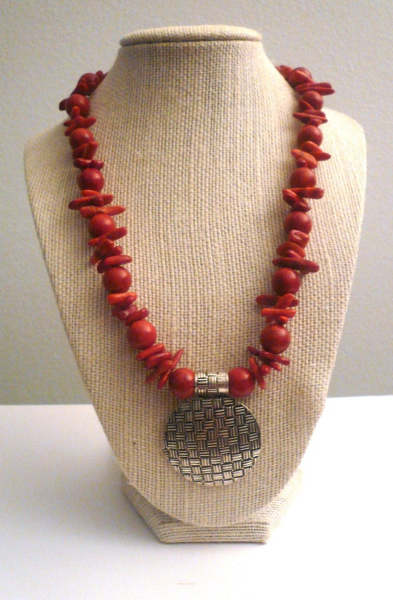 SALE Sponge Red Natural Coral and Silver  Round Pendant Necklace. Bali Style