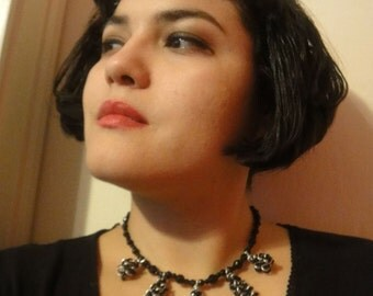 Twisted Necklace, Silver and black wire, Choker and Earring Set- NE-2