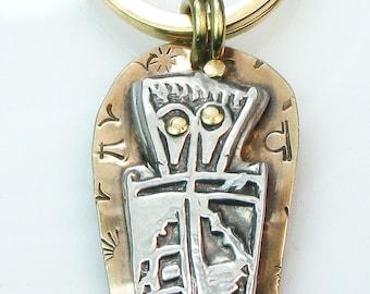 Southwest Shaman Ancestral Spirit Guardian Fine Silver/Brass Pendant - Southwest Petroglyph Shaman Fine Silver/Brass Key Ring Gift