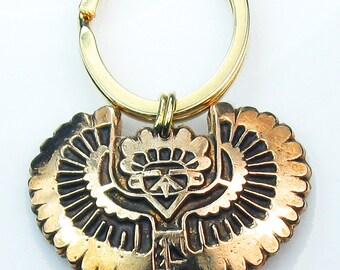 Thunderbird Spirit Hand-Crafted Kiln-fired Bronze Key Ring - Native American Thunderbird Bronze Pendant - Tribal Thunderbird Bronze Pendant