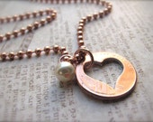 Stamped Penny from Heaven Necklace, Penny Necklace, Coin Necklace, Valentine's Gift - The Heart