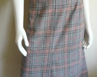 Vintage Women's 80's Skirt, Plaid, Aline, Wool, Polyester by De Lai (M)