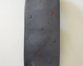 Vintage Neckties Men's 80's Oscar De La Renta Grey Polyester, Silk