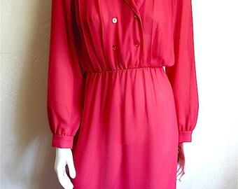 Vintage Women's 80's Unworn Dress, Fuchsia, Long Sleeve by J. M. New York (S/M)