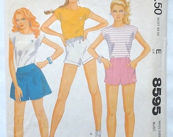 Vintage Sewing Pattern Women's Teen Girls 80's Partially Uncut, McCalls 8595, OP, Top, Shorts (XXS)