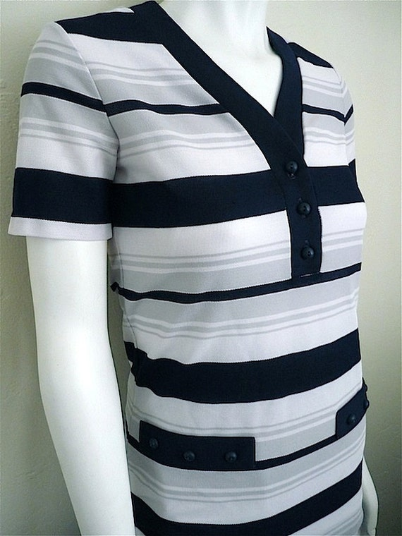 Vintage Apparel Ladies 60's Jantzen, Shirt, Short Sleeve, Striped, White, Navy Blue 3411 FreshandSwanky on Etsy