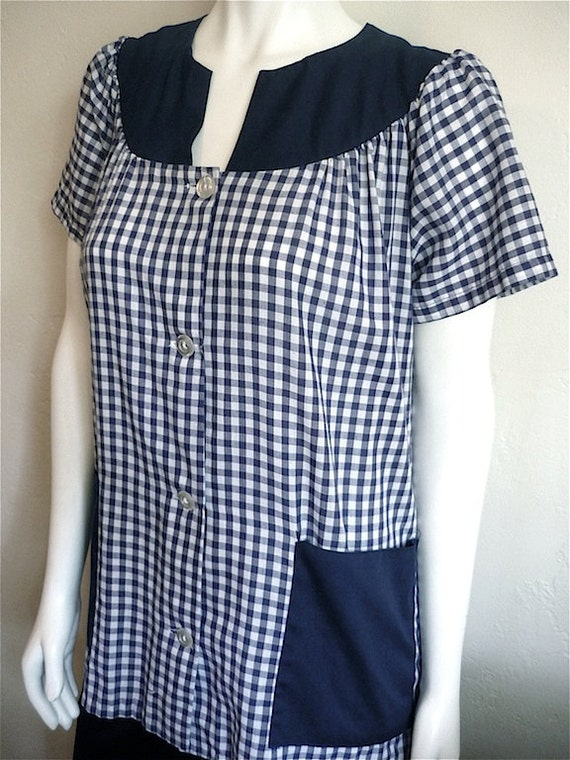 Vintage Apparel Ladies 70's Smock, Checkered, Blue, White, Short Sleeve M-XL 3424 FreshandSwanky on Etsy