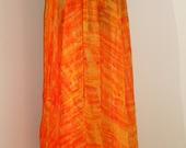 Orange and Yellow Tie Dyed 5 Yard Chiffon Bellydance Circle Skirt
