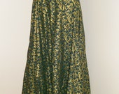 Holiday Hunter Green and Gold Cotton 5 Yard Egyptian Cabaret Circle Skirt
