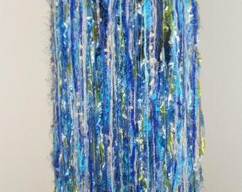 Tribal Fusion Bellydance Light Blue, Green and White Yarn Belt/ Skirt