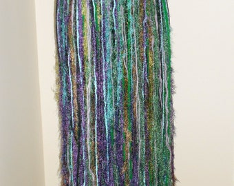 Tribal Fusion Bellydance Purple and Green Yarn Belt/ Skirt