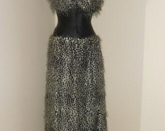 Fusion Egyptian Cabaret Bellydance Fuzzy Animal Print Bra, Skirt and Headband Costume 3 Piece Set