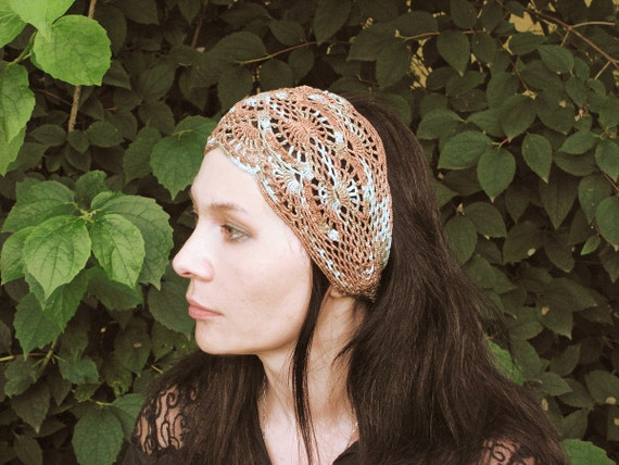 Indian Summer headband in shades of sand and sky - hand crochet open work lacy boho ties in the back