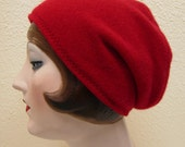 Pure Cashmere Rollup hat, Slouch beanie, Red. FREE SHIPPING in the US