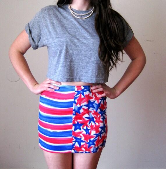 Mini Pencil Skirt, Bandage Bodycon Wiggle Mini Skirt, American Flag, SMALL