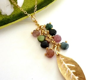 TOURMALINE Yellow Gold Leaf Charm Necklace