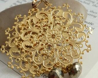 Pyrite Golden Filigree Chandelier Lever Back Earrings