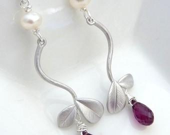 AAA Magnificent Magenta Rhodolite Garnet White Pearl Leaf Bracnch Sterling Silver earrings