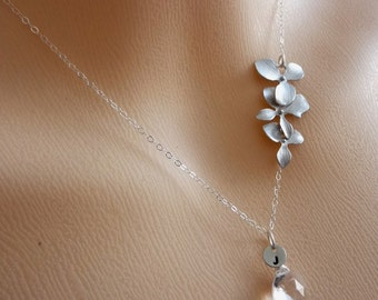 Custom Intial and Stone- Rock Crystal, Custom Initial Disc, Pearl, Orchids Necklace in  Sterling Silver Chain