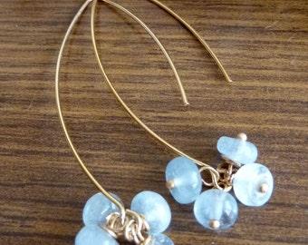 Aquamarine Cluster Golden Lotus Petal Earrings