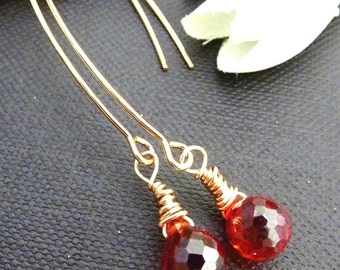 Gorgeous Crimson Orange Red Cubic Zirconia Long Lotus Petal Earrings