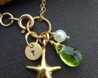 CUSTOM Initial and Stone Bracelet - Peridot, Pearl, Custom Initial Disc, Gold Vermeil Starfish Bracelet in 14k Gold Filled Chain