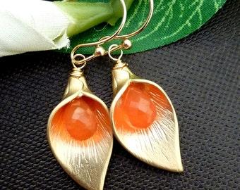 Custom Stone - Calla Lily Flower, Orange Carnelian Golden Earrings