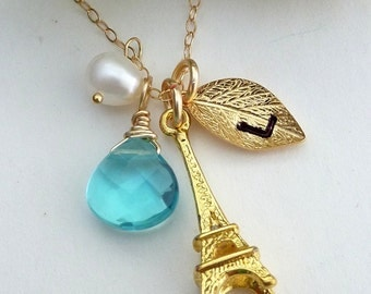 Custom Stone and Initial - Blue Topaz Quartz, Custom Initial Leaf, Eiffel Paris Tower, Pearl Necklace in Gold Filled Chain