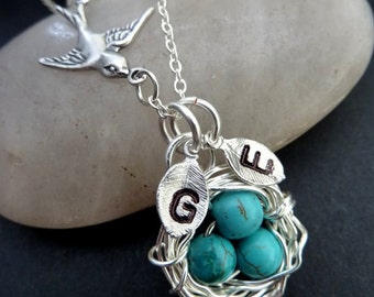 Custom 3 Initials - Bird Nest with 3 Turquoise Eggs, Sparrow Bird Necklace in Sterling Silver Chain