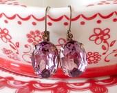 Amethyst Earrings Lilac Crystal Bride Bridesmaids Lavender Purple Rhinestone Estate Jewels