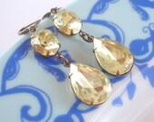 Lemon Drop Earrings Jonquil Yellow Rhinestones Bridal Bridesmaids