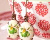 Summer Pears Earrings Retro Vintage Milk Glass Cabochons