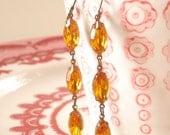 Topaz Rhinestone Earrings Retro Honey Drop Autumn Bridesmaid