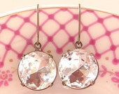 Vintage Crystal Rhinestone Earrings Estate Style Retro Round Ultra Glam
